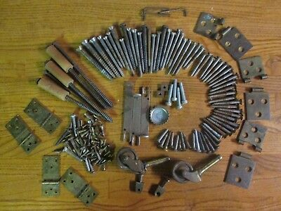 (125) ANTIQUE FLAT HEAD WOOD SCREWS Piano hardware 152 pieces hinges Vintage