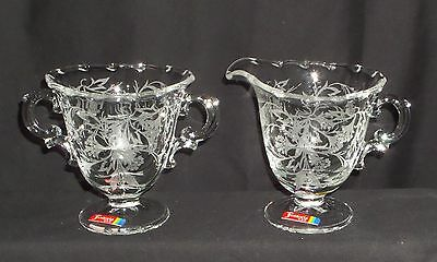 "Fostoria HEATHER CRYSTAL *3 3/4"" FOOTED CREAMER & SUGAR w/STICKER*"