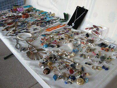 Large Lot Craft Jewelry 8+ Pounds Variety Jewelry Earrings Necklaces Bracelets +
