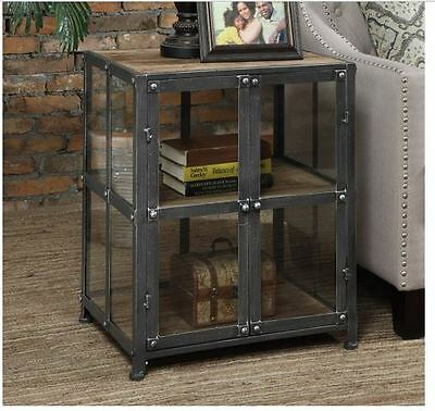 Side End Table Storage Display Cabinet Metal And Wood Vintage Industrial Accent