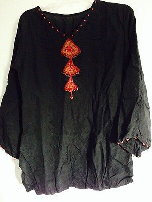 Latest indian Pakistani Women Red & Black Kurta With Beads Long Sleeves