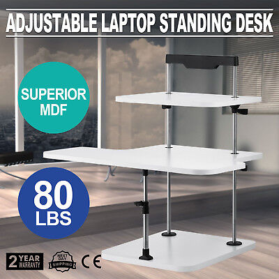 3 Tier Adjustable Computer Standing Desk Stand Up Mobile Tray Light Weight