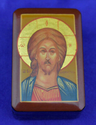 Vintage/ Antique Russian Orthodox Miniature Icon Wooden Handpainted Lacquer Box