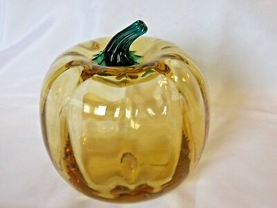 "Original BLENKO Handmade 6"" Topaz Blown Glass Pumpkin OrigLabel Made in the USA!"