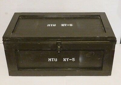 Vintage Military Wooden Trunk Foot Locker Ammo Case Furniture Home Storage