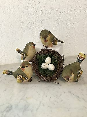 Set of Bird figurines, SMALL RESIN GREEN WARBLERS SET OF 4 NEW +nest with eggs