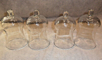 """4pc VINTAGE CLEAR GLASS NO DECORATION VOTIVE CUP CANDLE HOLDERS 5 1/4"""" TALL"""