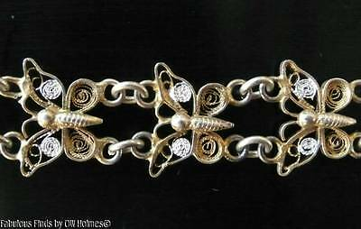 Vintage 800 Silver Yellow Gold Gilt Butterfly Filigree Link Bracelet