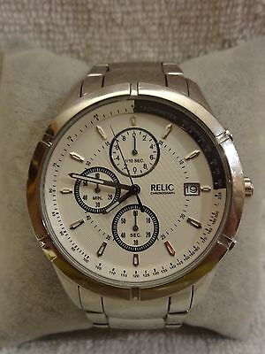 Relic by Fossil ZR66016 Chonograph Watch SS Case/Band Date New Battery Working