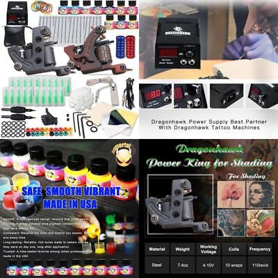 Complete Full Tattoo Kit Starter Set Pro Machine Gun Power Supply Needle Ink tip