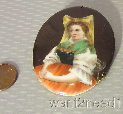antique 19C Victorian HAND PAINTED PORCELAIN LADY BROOCH young maiden girl 2.5""
