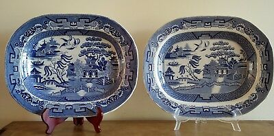 "Pair Of Antique ""blue Willow"" Stone Ware Platters"