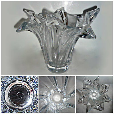Stunning, Dramatic French Art Deco VANNES CRYSTAL Vase,  Circa 1960s