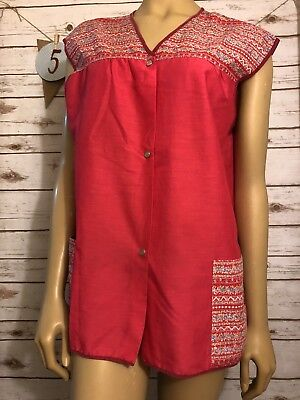 VTG Womans Art Smock XL Apron Lunch Lady Buttons Pockets Artistic Creations USA