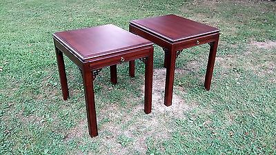 Vintage Pair of DREXEL Heritage CHIPPENDALE End Tables w/ Pullouts