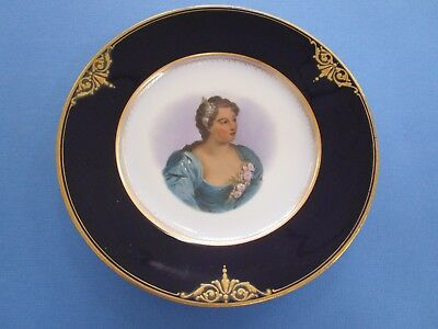 Vintage Cobalt and Gold Hand Painted  Cabinet Plate with Girl  in center