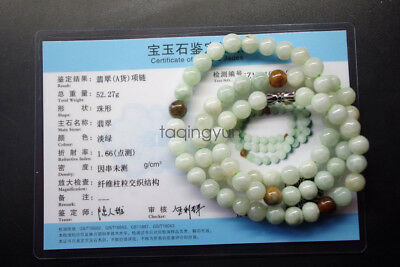 Certified natural A Grade Burmese jadeite jade round beads jewelry jade necklace