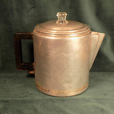 Vintage Mirro Aluminum Water Or Coffee Pitcher 2 Quart 582 M Wood Handle