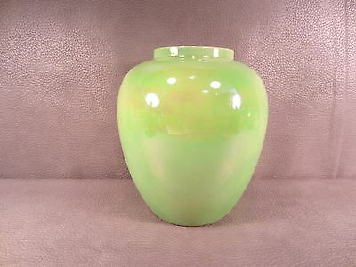 Vintage Crown Devon Fieldings England Green Iridescent Vase