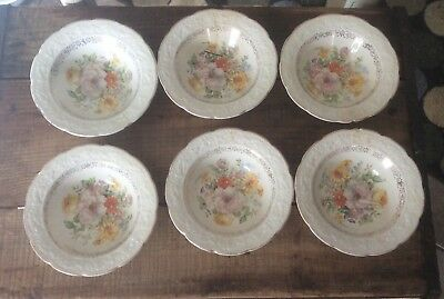 Vintage Bowls , Floral Design, The Edwin M Knowles China Co, Buy 1 To 6 Bowls