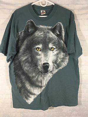 Vtg Blue Wolf Graphic Shirt Short Sleeve Men's Sz XL