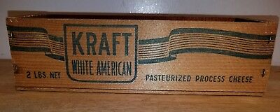 Antique Vintage Kraft White American Cheese Wood Box Crate Advertising 2 lbs old