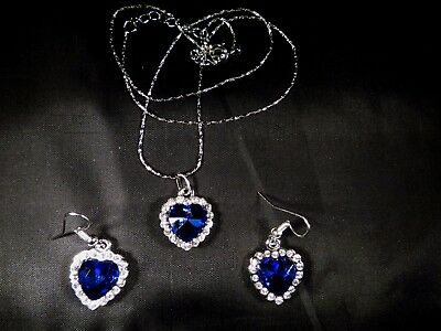 Titanic Heart of the Ocean Necklace and Earring Set =UK SELLER=