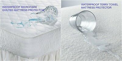 Waterproof Terry / Quilted Mattress Protector Extra Deep Fitted Cover- All Sizes