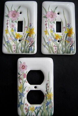 Leviton Wildflower Floral Porcelain Light Switch Cover Toggle Wall Outlet Plate