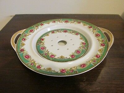 Haviland Limoges France Butter Cheese Dish With Strainer Green Border Red Roses