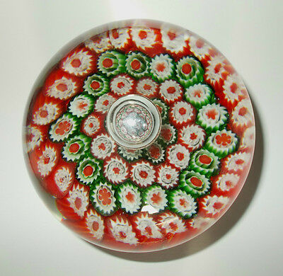 Vintage Large and Heavy Millefiori Round Glass Paperweight ~ Interesting!!
