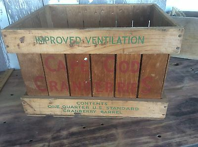 Wood Cranberry Advertising Crate, Cape Cod , Red And Green , Beatons Brand,