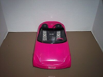 Barbie Glam Hot Pink Convertible Sports Car With Zebra Seats, Mattel, Doll Toy