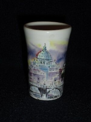 Ceramic/Porcelain Roma Panorama Shot Glass/Small Cup Made in Italy 2-1/2 inches