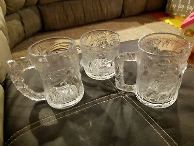 Batman Forever - Complete set of 3 Glass Mugs - McDonalds 1995 - Robin Riddler