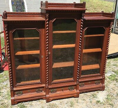 Victorian Triple Door Walnut Bookcase