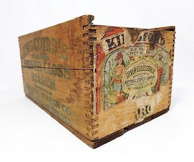 Antique Kingsford's Silver Gloss Starch Wood Box Crate Orig Paper Label, Stencil