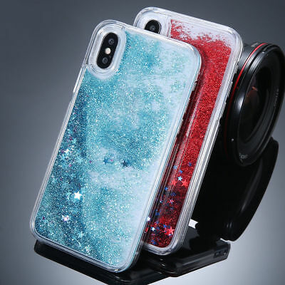 For iPhone XS 8 7 6s Plus Dynamic Liquid Glitter Quicksand Hard Back Case Cover