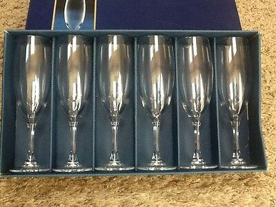 Set of 6 Cristel D'Arques Vicomte Lead Crystal Champagne Toasting Flutes
