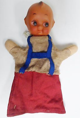 Rare Vintage Kewpie Doll Hand Puppet with blue suspenders
