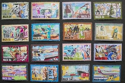 History of Maltese industry stamps, 1981, Malta, SG ref: 667-682, 16 stamps, MNH