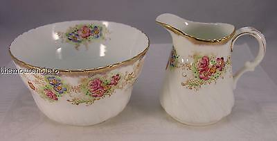 G W & Sons Queens China, England large open sugar & creamer jug hand painted