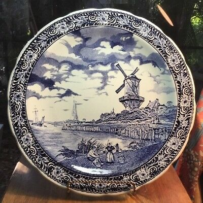 Antique Huge Delft Faience Wall Plaque by Boch Brothers in Belgium
