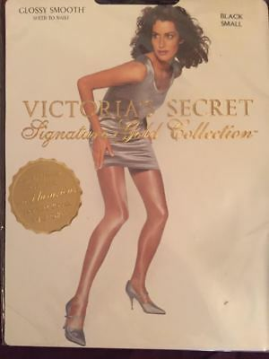Victorias-Secret-Signiture-Gold-Collection-Glossy-Smooth-Sheer-To-Waist-NAVY/BLK
