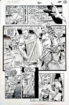 Uncanny X Men #321 Page 8 Original Art Bishop & Iceman Ron Garney  Legion Quest