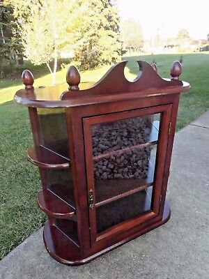 Vintage Large Wooden Curio Cabinet Display Case w/ Glass Sides & Doors
