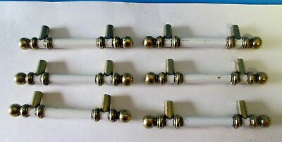 6 VINTAGE BRASS AND WHITE DRAWER PULLS HANDLES 3 inch centers