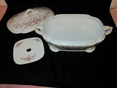 Anq J&G Meakin Ironstone China Covered Vegetable Dish w/Strainer - Brown Flowers