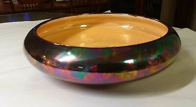 """Hand painted Made in Japan Iridescent Glaze Lusterware bowl Green,Blue,Gold 9"""""""