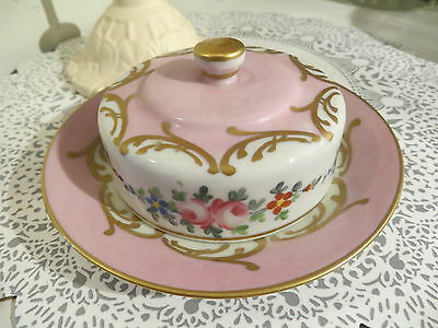 """Vintage Beautiful Pink White Gold Floral Covered Dish China From France 6"""" Wide"""